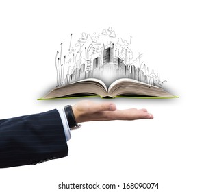 Businessman hand holding opened book in palm