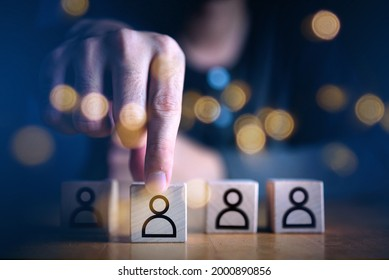Businessman hand holding touching employment choice concept which print screen on wooden cube block, Business service rating , Satisfaction concept.Selection and Choosing emotion or mood concept.