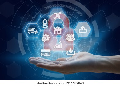 Businessman hand holding with virtual screen padlock and Interface Icons over the Network connection on technology background, Cyber Security Data Protection Business Technology Privacy concept.