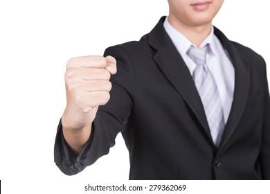 businessman hand make fist isolate on white background