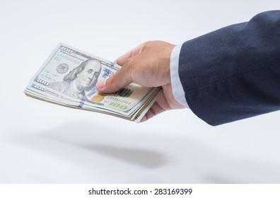 Businessman hand with money, United stage dollar bill