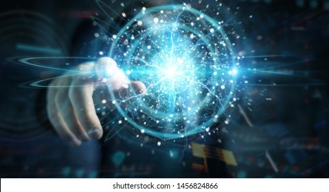 Businessman hand on dark background creating renewable and sustainable eco energy with electrical sphere 3D rendering