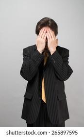 businessman hand person is nervous