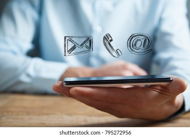 Businessman hand phone with  icons