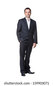 Businessman with hand in pocket full length portrait
