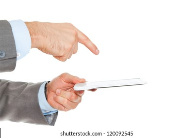 businessman hand point finger to touch screen using tablet computer, businessman with digital pad isolated over white background