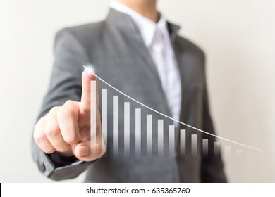 Businessman hand pointing arrow graph step up growth business and financial investment