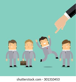 Businessman hand pointing at cute character of young businessman in business concept of personnel selection, hiring or recruitment. Flat design.