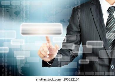 Businessman hand pointing on blank virtual screen, modern business background concept