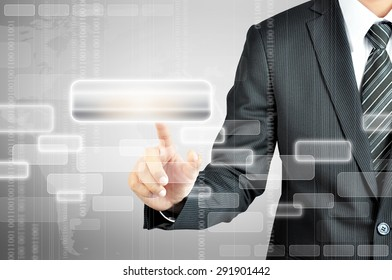 Businessman hand pointing on empty virtual screen - modern business background concept