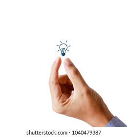 businessman hand present light bulb, idea and creativity