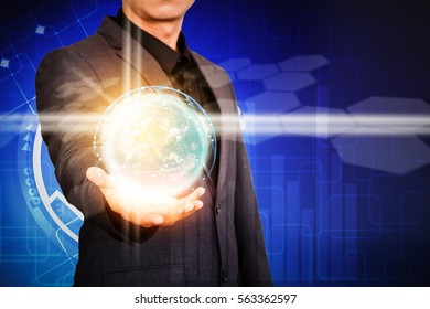 Businessman hand presenting virtual technology graphic.