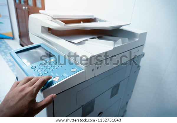 Businessman Hand Press Button On Panel Stock Photo (Edit Now