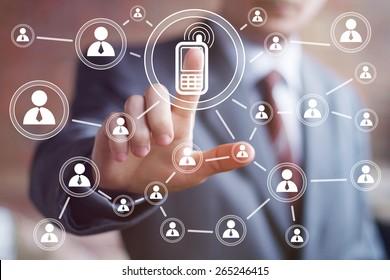 Businessman hand press telephone icon web button