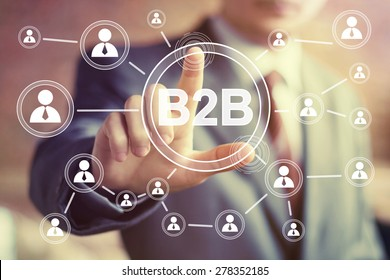 Businessman hand press web button b2b icon