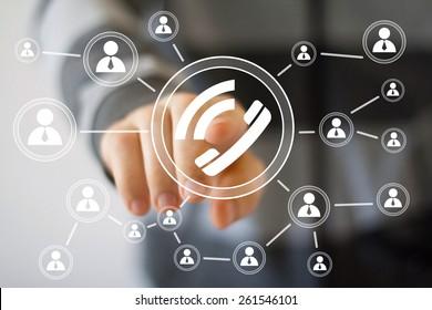 Businessman hand press web telephone button