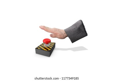 Businessman hand pressing red alarm button