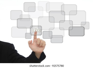 businessman hand pressing social like button