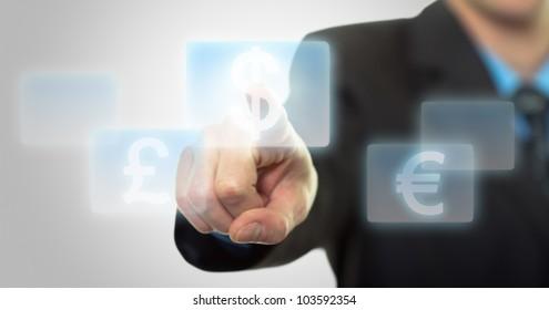 Businessman hand pressing virtual dollar sign button