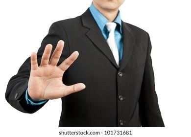 businessman hand pushing