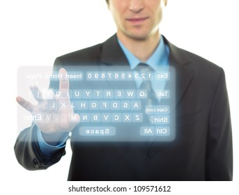 Businessman Hand pushing a button on a virtual keyboard