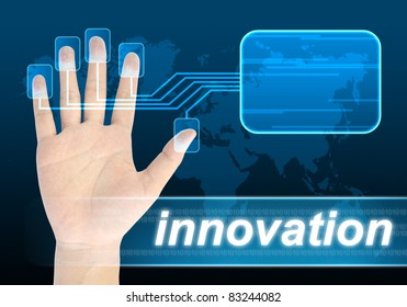 businessman hand pushing innovation button on a touch screen interface