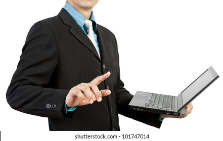 businessman hand pushing and notebook