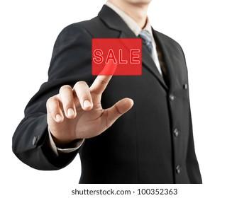 businessman hand pushing sale button
