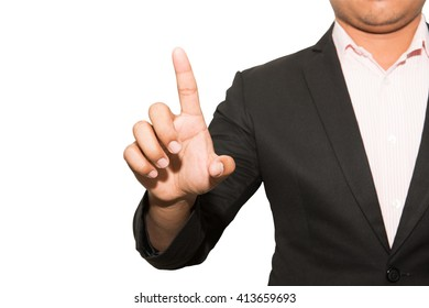businessman hand pushing screen on white background