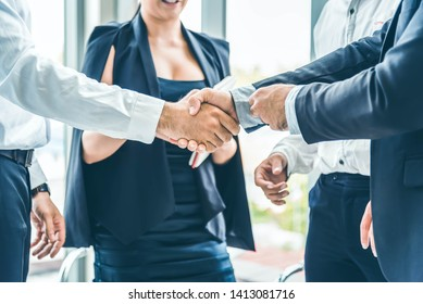 Businessman hand shake after the new project meeting. Business agreement concept.