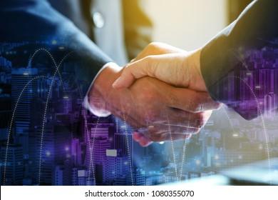 Businessman hand shake, corporate business successful.