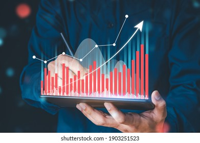Businessman hand show Stock chart showing rising stock sign with graph indicator. Interest rate financial and mortgage rates concept. Double Exposure Image.