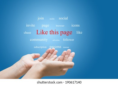 Businessman Hand Showing Like this page Word