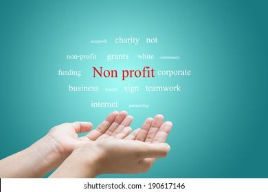 Businessman Hand Showing Non profit Word