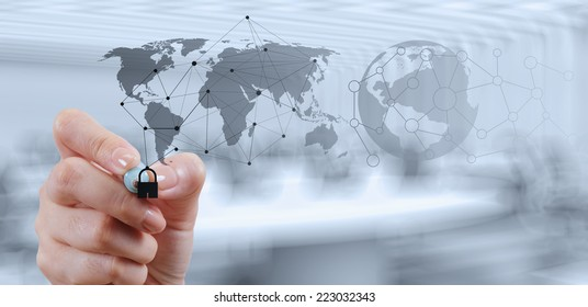 businessman hand showing padlock on touch screen computer as Internet security online business concept