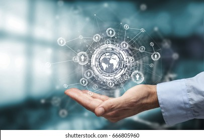 businessman hand showing world with digital social media network diagram concept