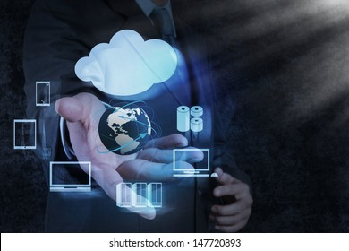 Businessman hand shows a Cloud Computing diagram on the new computer interface