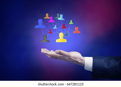 Businessman  hand  social network interface in screen