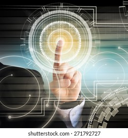 Businessman Hand Technology Background