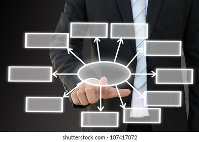 Businessman hand touch screen button of ten choices blank chart