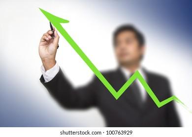 businessman hand touch virtual graph