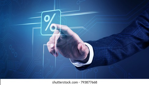 Businessman hand touches virtual percent icon.