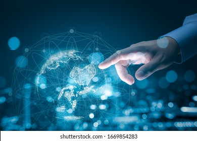 Businessman hand touching global network and data exchanges over the world 3D rendering