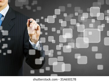 Businessman hand touching icon of media screen