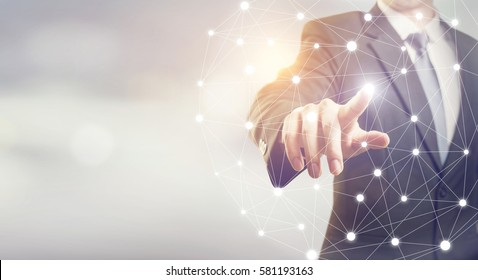 Businessman hand touching map point, network connection, international meaning, copy space