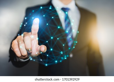 Businessman hand touching point connections system and global data exchanges. Business network connection concept.