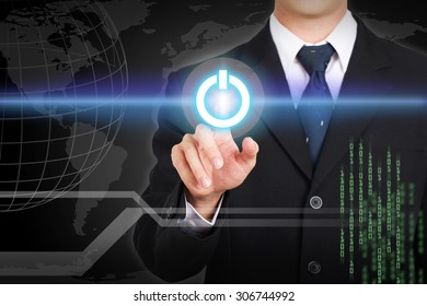 Businessman hand touching  power concept on screen.