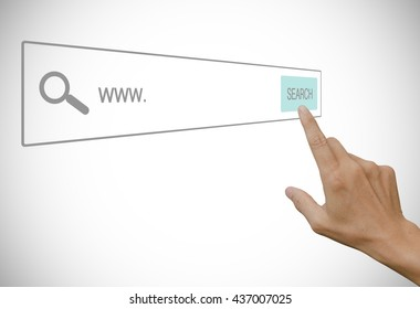 Businessman hand touching at search bar on virtual screen, internet searching concept.