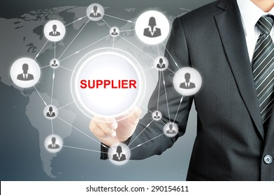 Businessman hand touching SUPPLIER sign on virtual screen with people icons linked as network