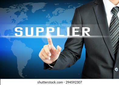 Businessman hand touching SUPPLIER sign on virtual screen